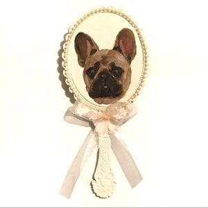 French Bulldog painting shabby chic mirror vintage